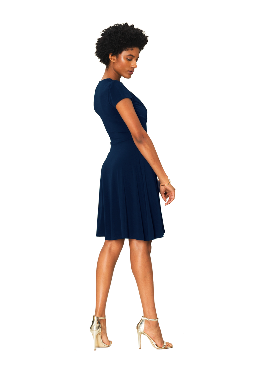 Sweetheart A-Line Dress in Classic Navy Crepe Blue