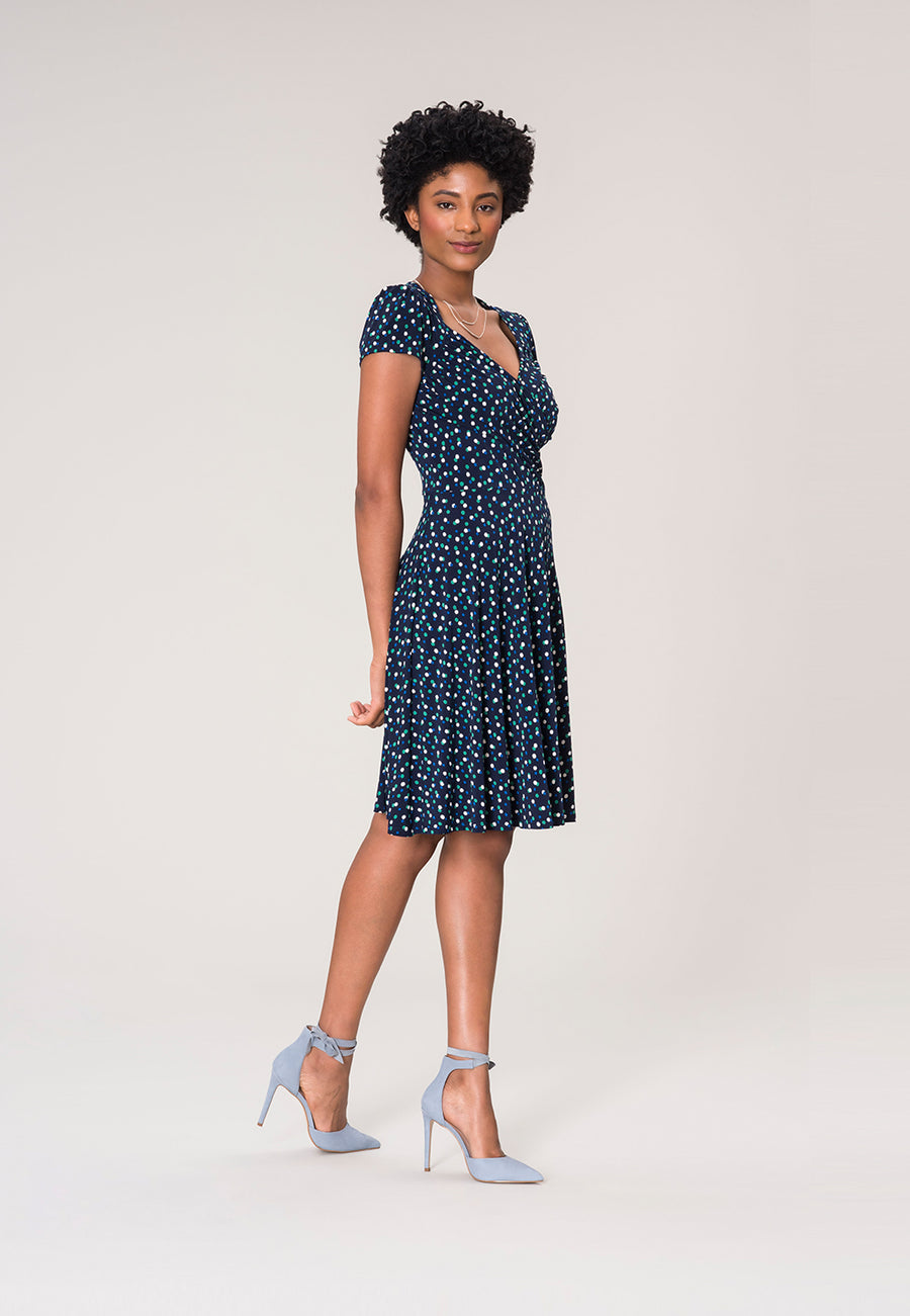 Sweetheart A-Line Dress in Twilight Dot Parakeet Blue