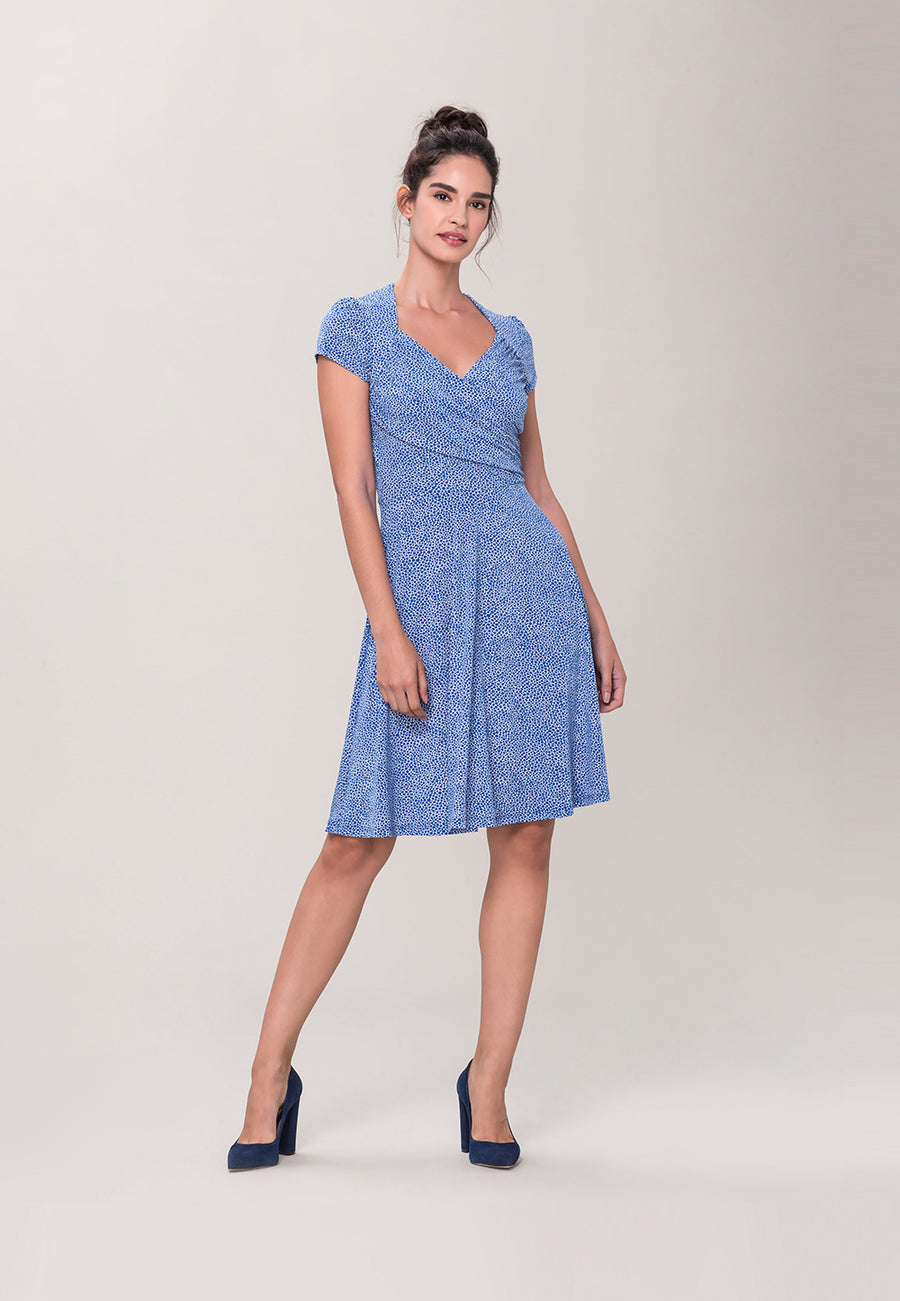 Sweetheart A-Line Dress in Pebble Nebulas Blue