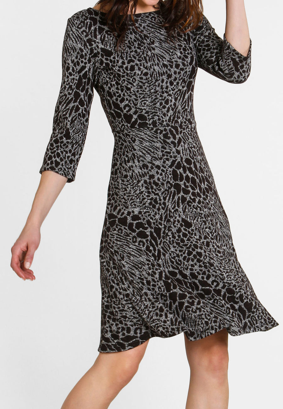 Circle Dress with 3/4 Sleeve in Ocelot Grey