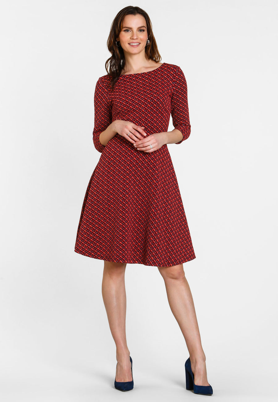 Circle Dress with 3/4 Sleeve in Parquet Jacquard Chili Pepper Red