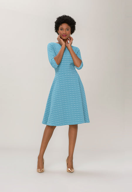 Bracelet Sleeve A-Line  Dress in Belissimo Jacquard Blue