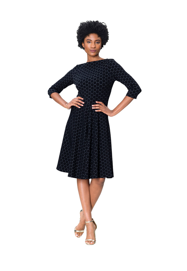 Circle Dress with Bracelet Sleeve in Black Luxe Jacquard