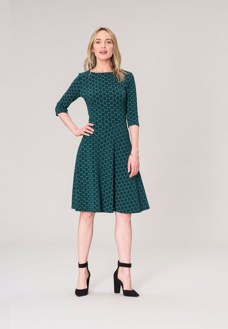 Bracelet Sleeve A-Line  Dress in Botanical Luxe Jacquard Green
