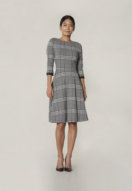 Bracelet Sleeve A-Line  Dress in Classic Plaid Grey