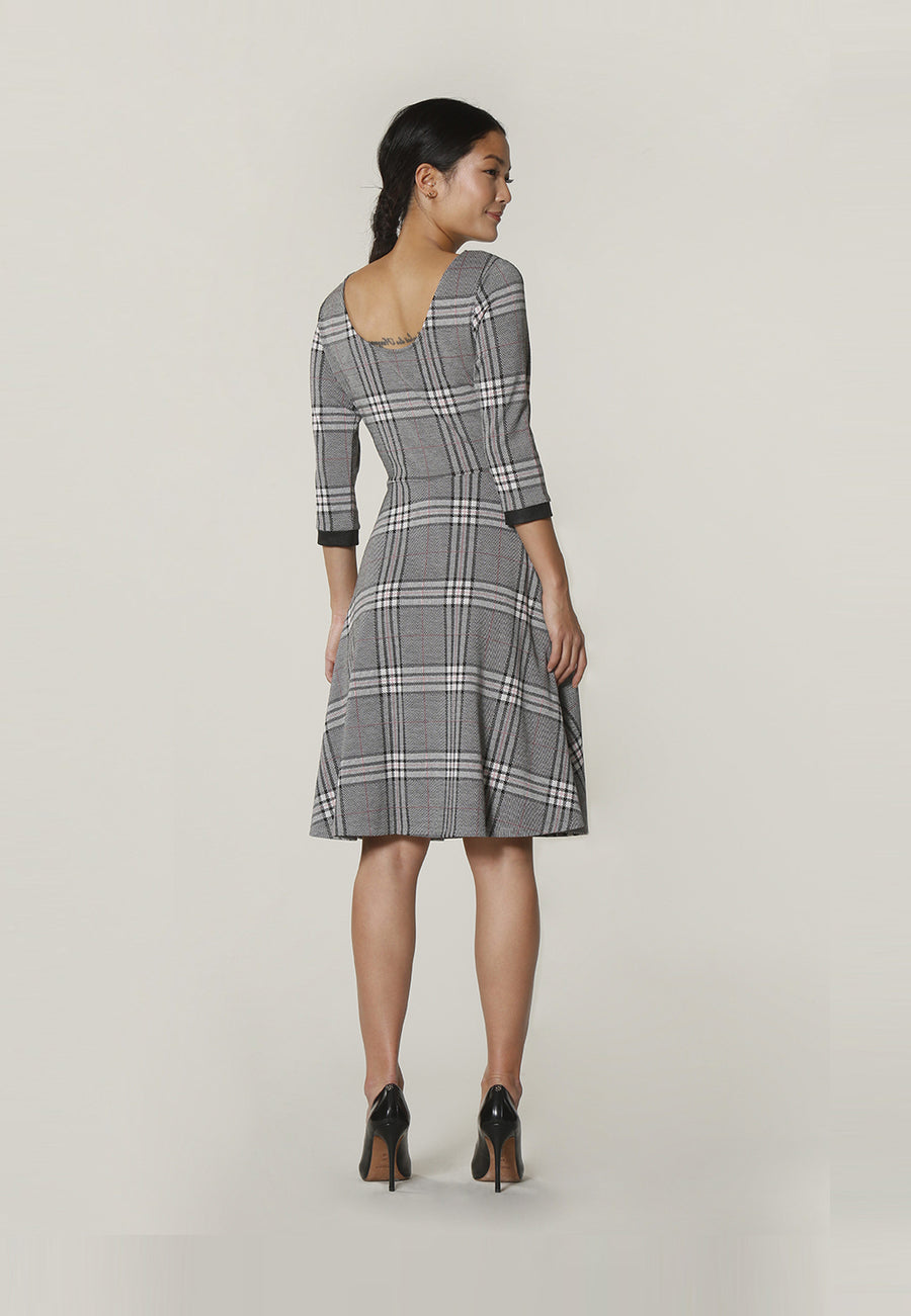 Circle Dress with Bracelet Sleeve in Classic Plaid