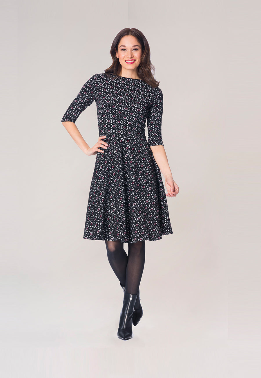 Bracelet Sleeve A-Line  Dress in Geo Jacquard Rhododendron Black