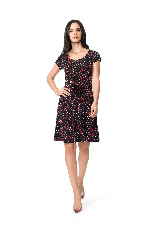 Brittany Dress in Twilight Dot Pink Peacock