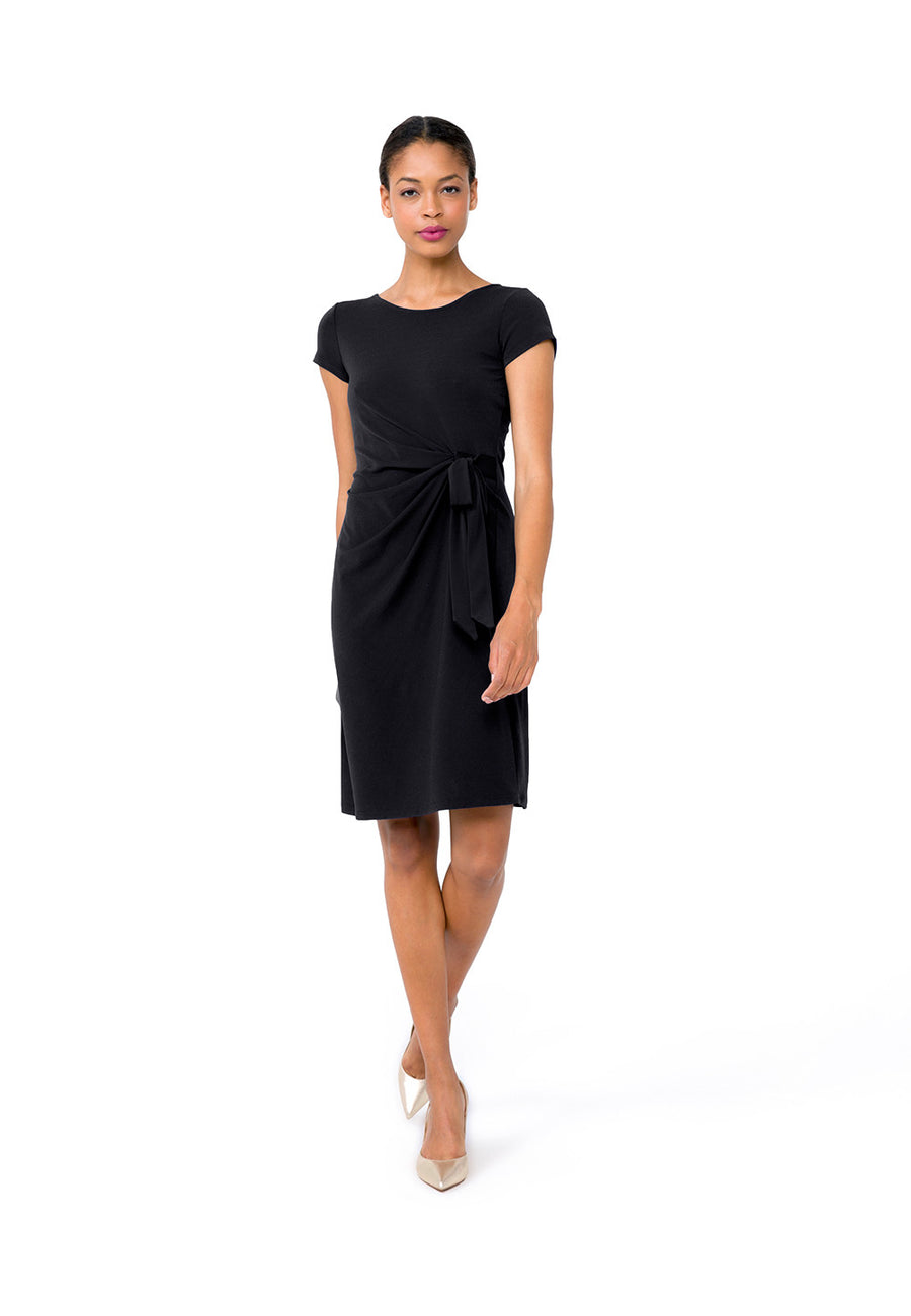Madison  A-Line Dress in Black Crepe
