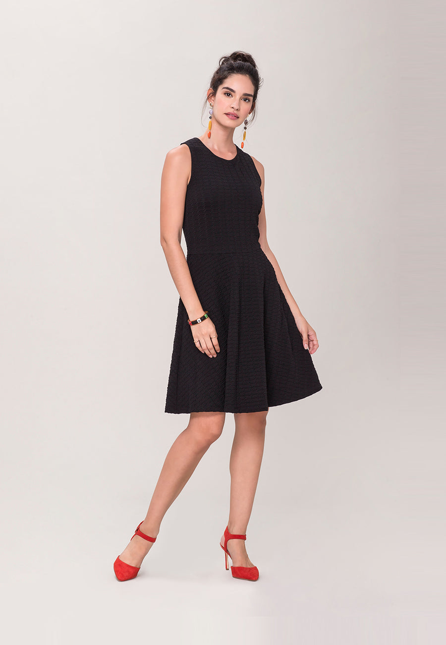 Ava A-Line Dress in  Black Texture