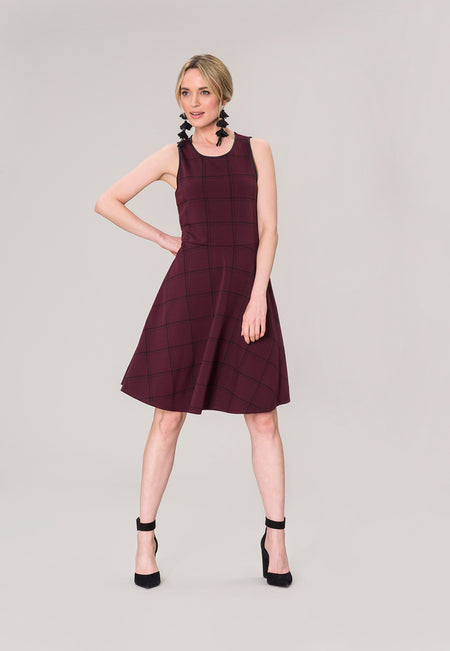 Ava A-Line Dress in Power Plaid Red