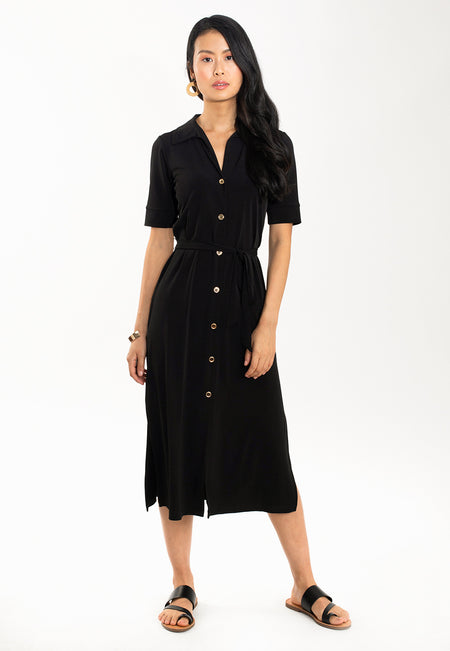 Shirt Dress in Black Essential Jersey