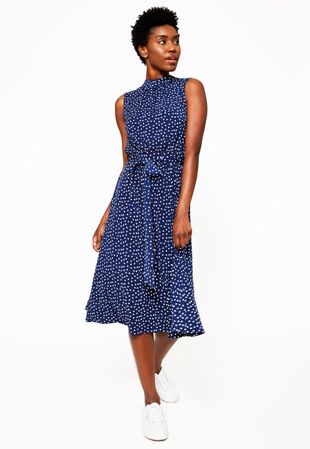 Mindy Shirred Dress in Confetti Dot Medieval Blue