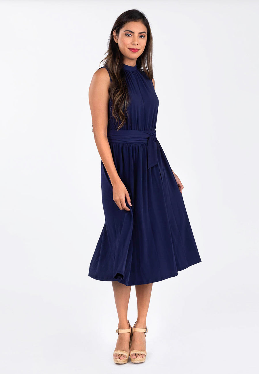 Leota Mindy Shirred Dress in Classic Navy image 2