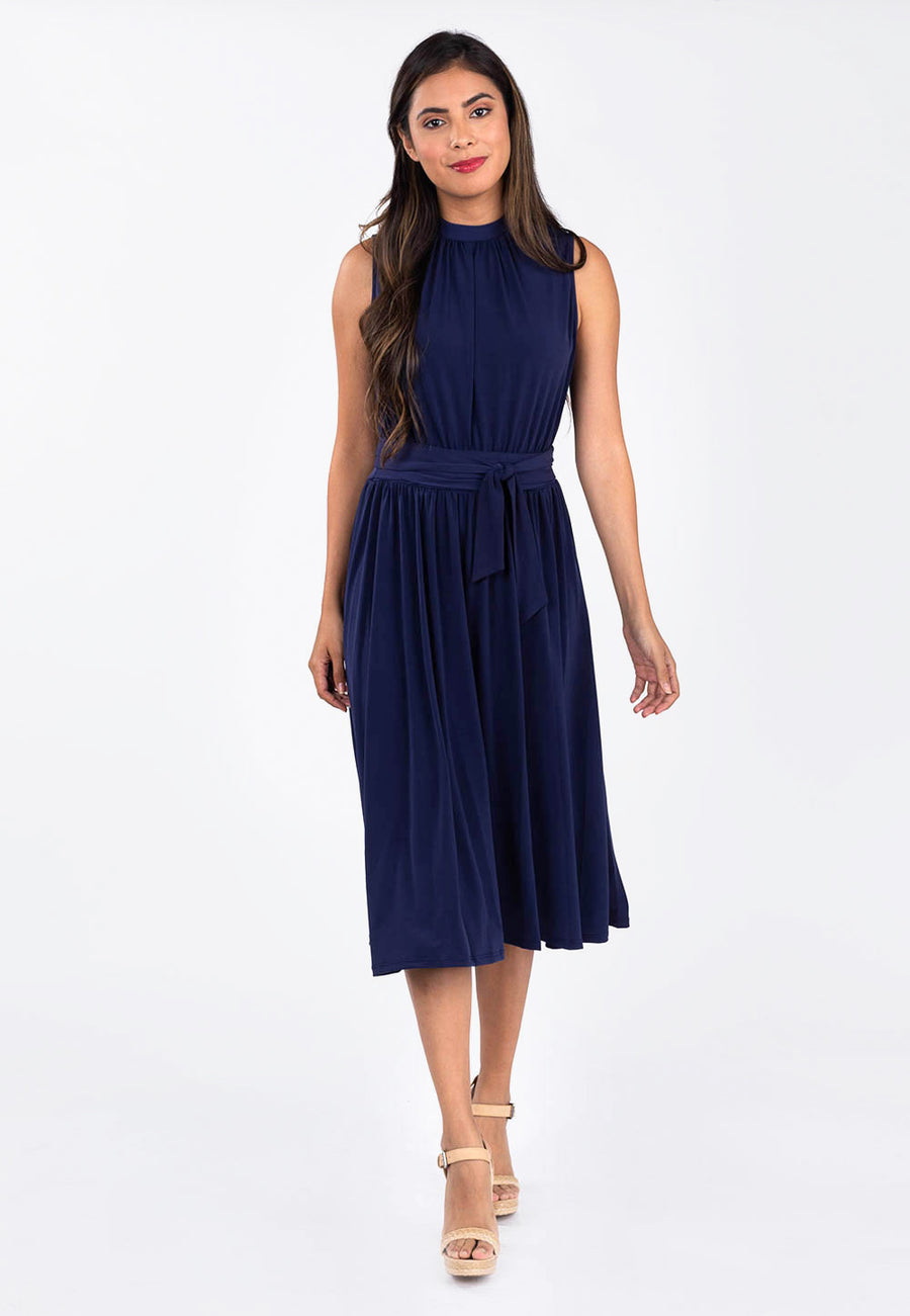 Leota Mindy Shirred Dress in Classic Navy