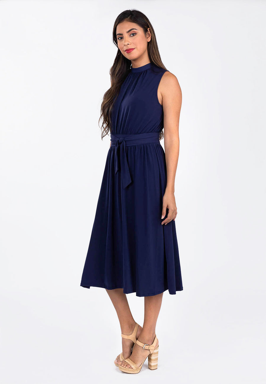 Leota Mindy Shirred Dress in Classic Navy side
