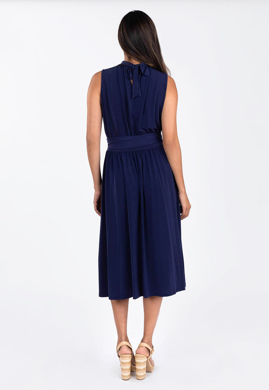 Leota Mindy Shirred Dress in Classic Navy back