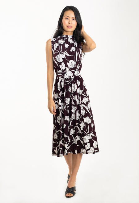 Mindy Shirred Dress in Pressed Tulips Fig