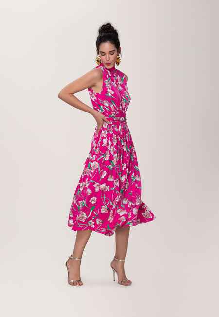 Mindy Shirred Dress in Wild Tulip