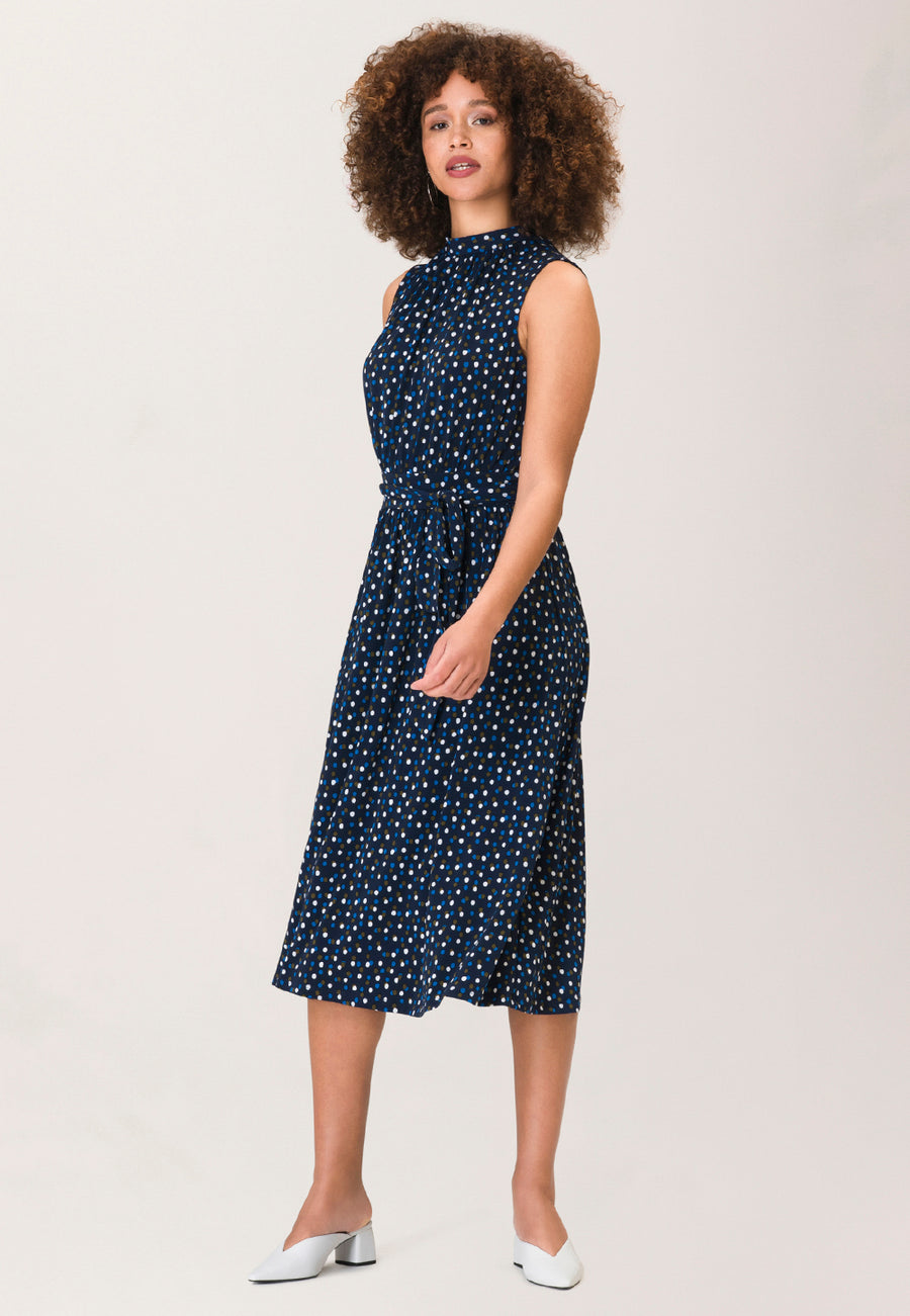 Mindy Shirred  Midi Dress in Twilight Dot Classic Navy Blue