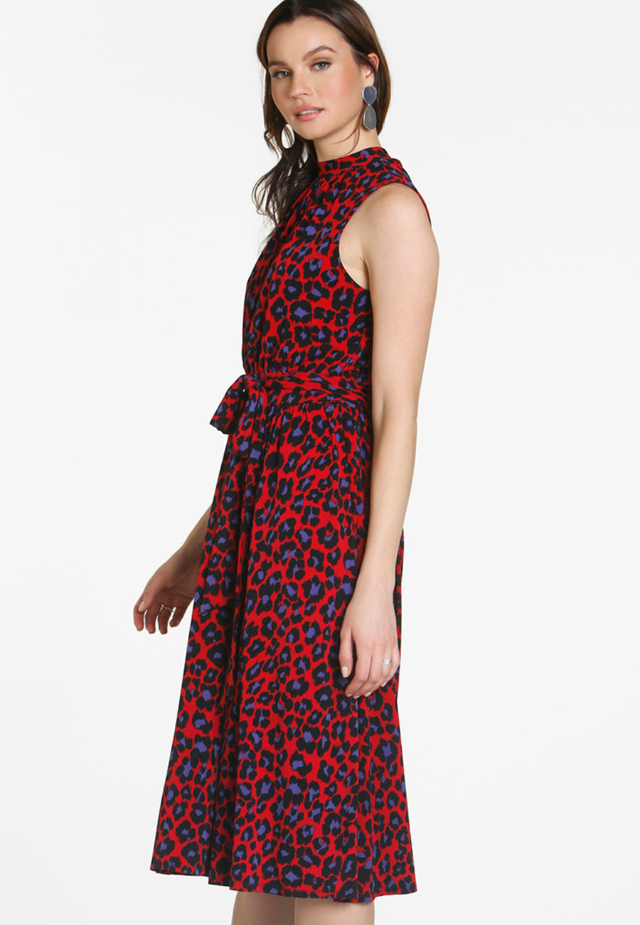 Mindy Shirred Dress in Wild Cat Chili Pepper