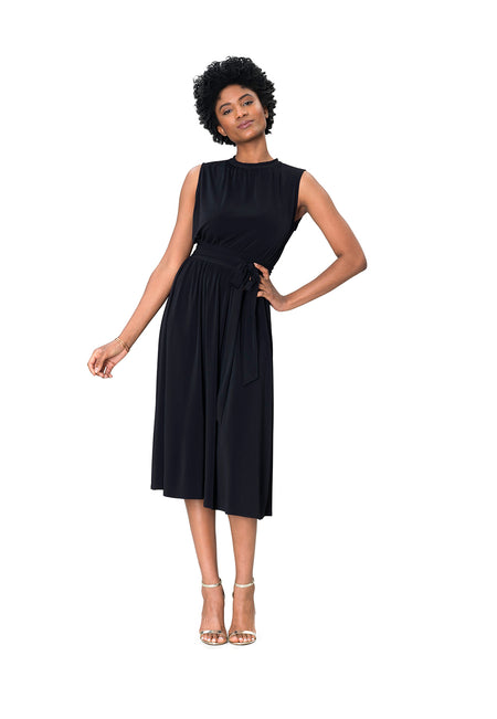Mindy Shirred Dress in Black Crepe
