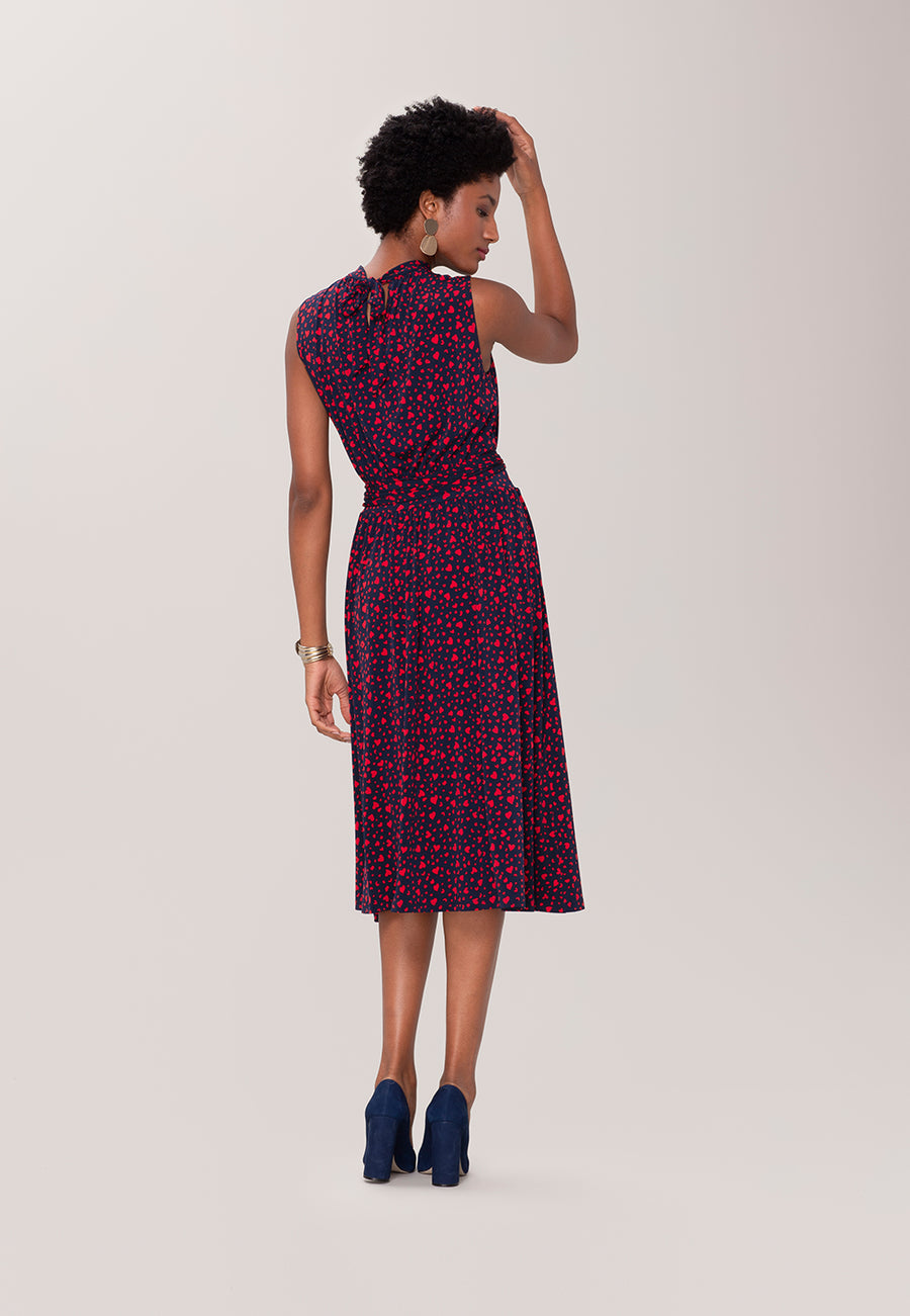 Mindy Shirred Dress in Love Navy Lychee