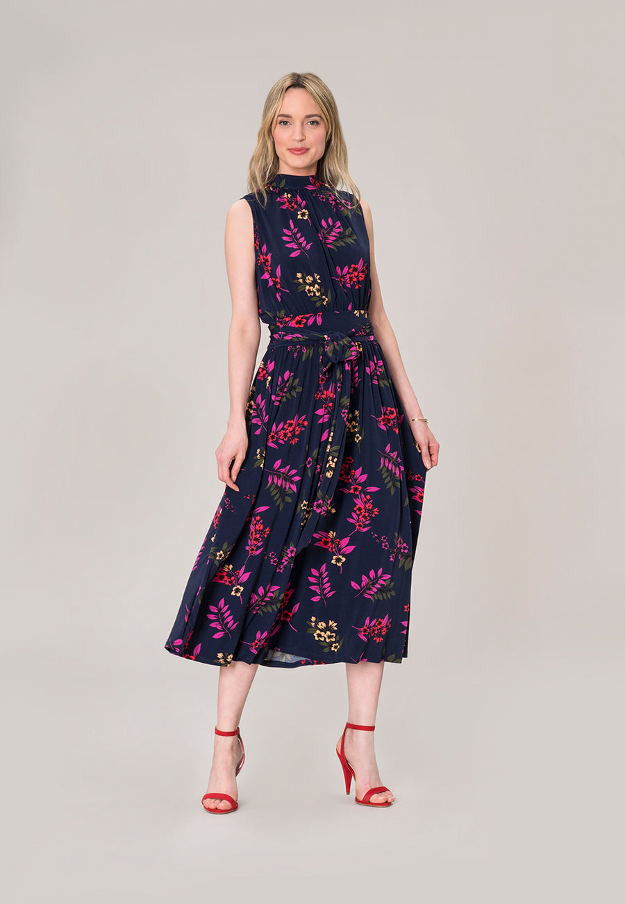 Mindy Shirred  Midi Dress in Malibu Classic Navy Blue