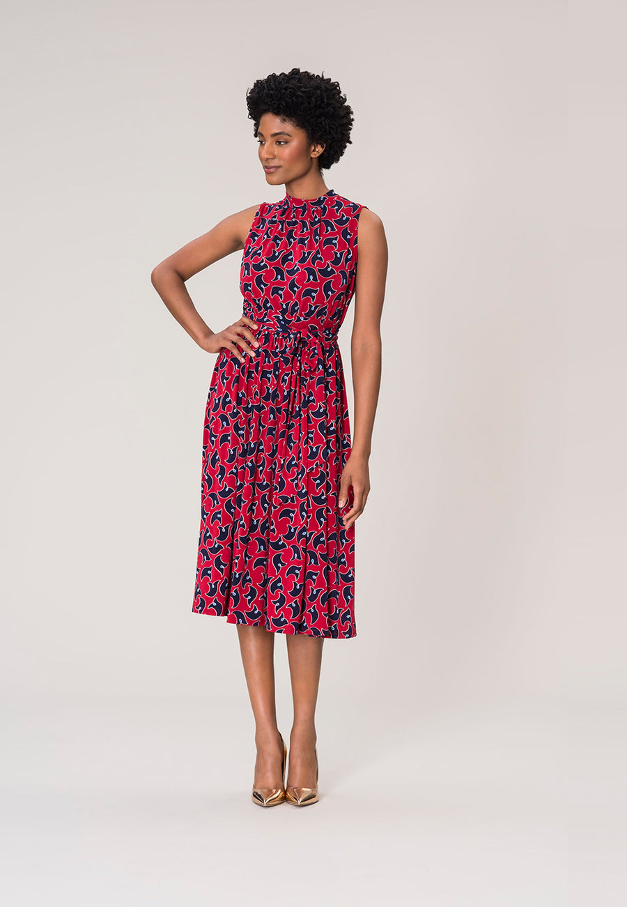 Mindy Shirred  Midi Dress in Westport Geo Red