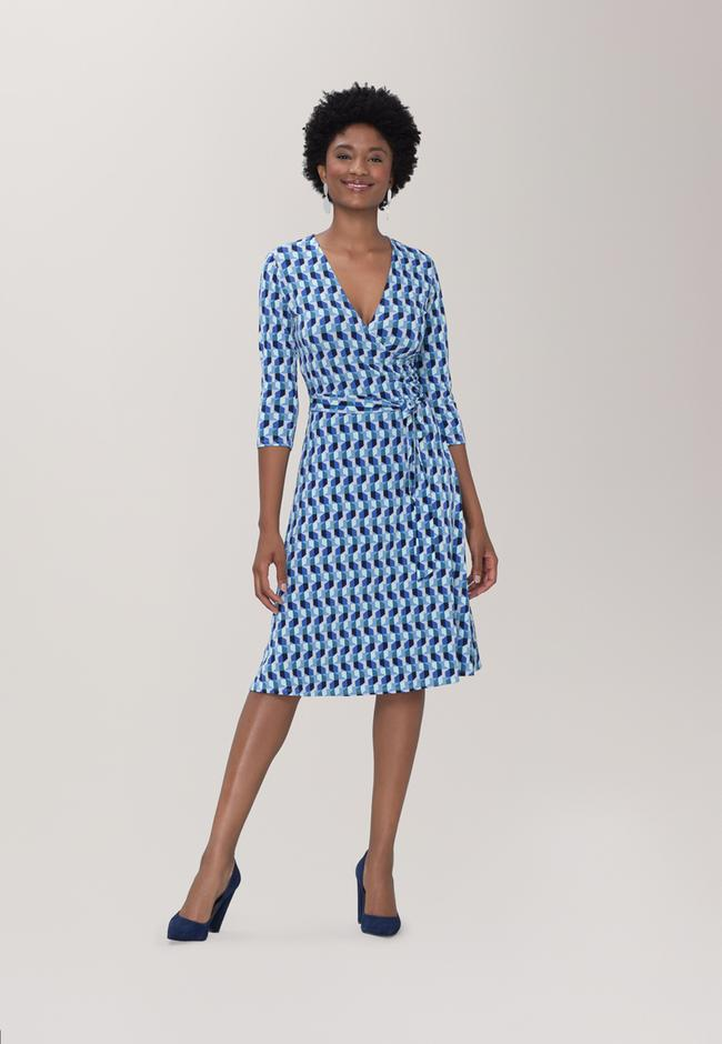 Perfect Wrap Dress  in Mod Geo Blue