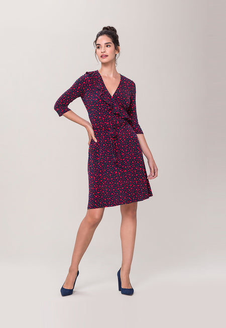 Felicity Ruffle Perfect Wrap Dress in Love Navy Lychee