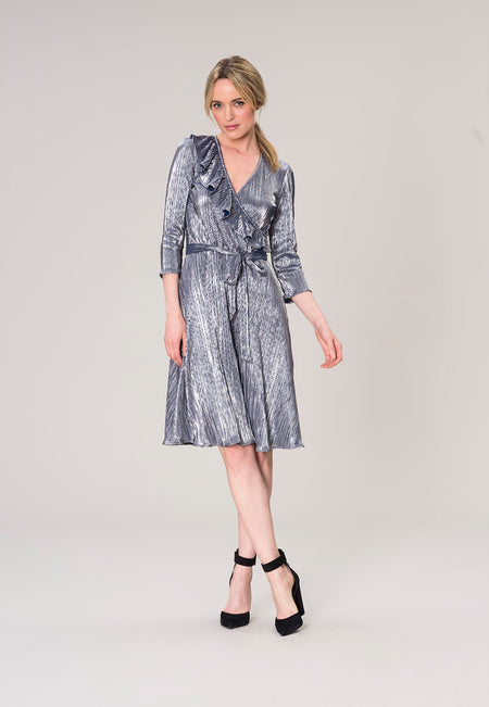 Felicity Bracelet Sleeve Ruffle Wrap Dress in Slate Metallic Crinkle