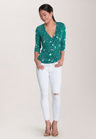Rouched Wrap Top  in Rainforest Green