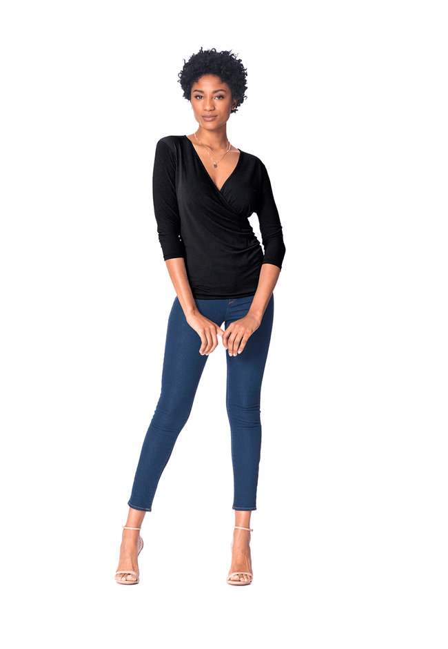 Rouched Wrap Top in Black Crepe
