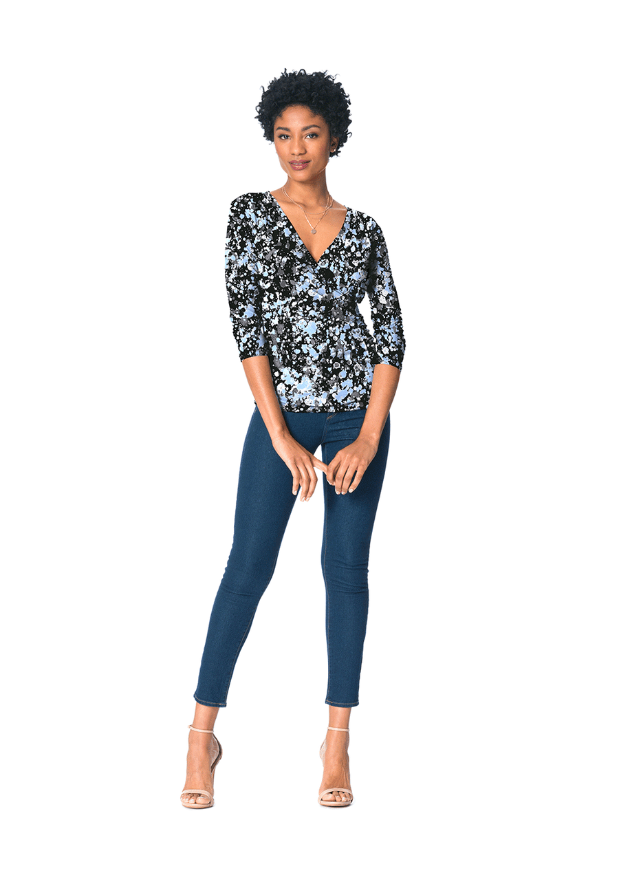 Rouched Wrap Top  in Modern Blue