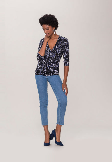Rouched Wrap Top  in Summer Night Blue