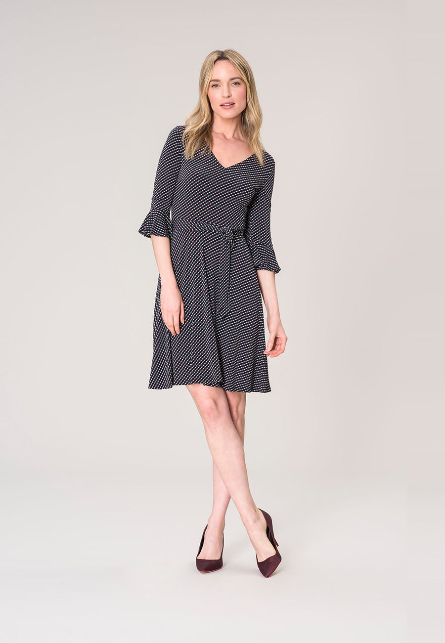 Ilana Flounce Sleeve Dress in Diagonal Dot