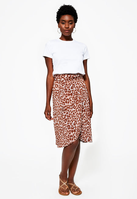 Mae Wrap Skirt in Leo Coral Almond