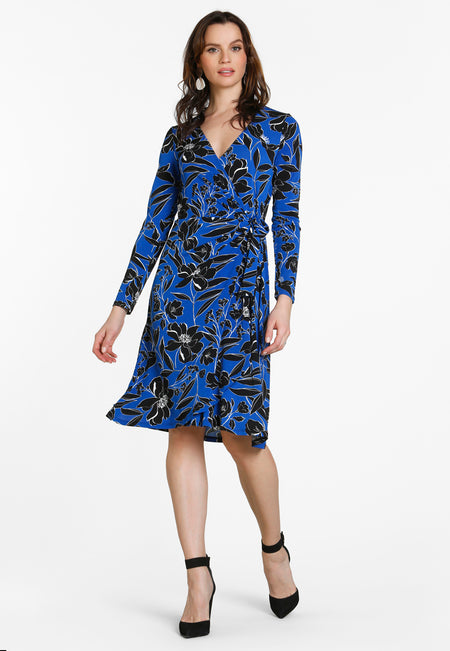Gabrielle Wrap Dress in Classic Floral Turish Sea Blue