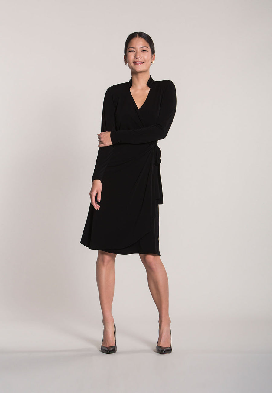 Gabrielle Wrap Dress in Black