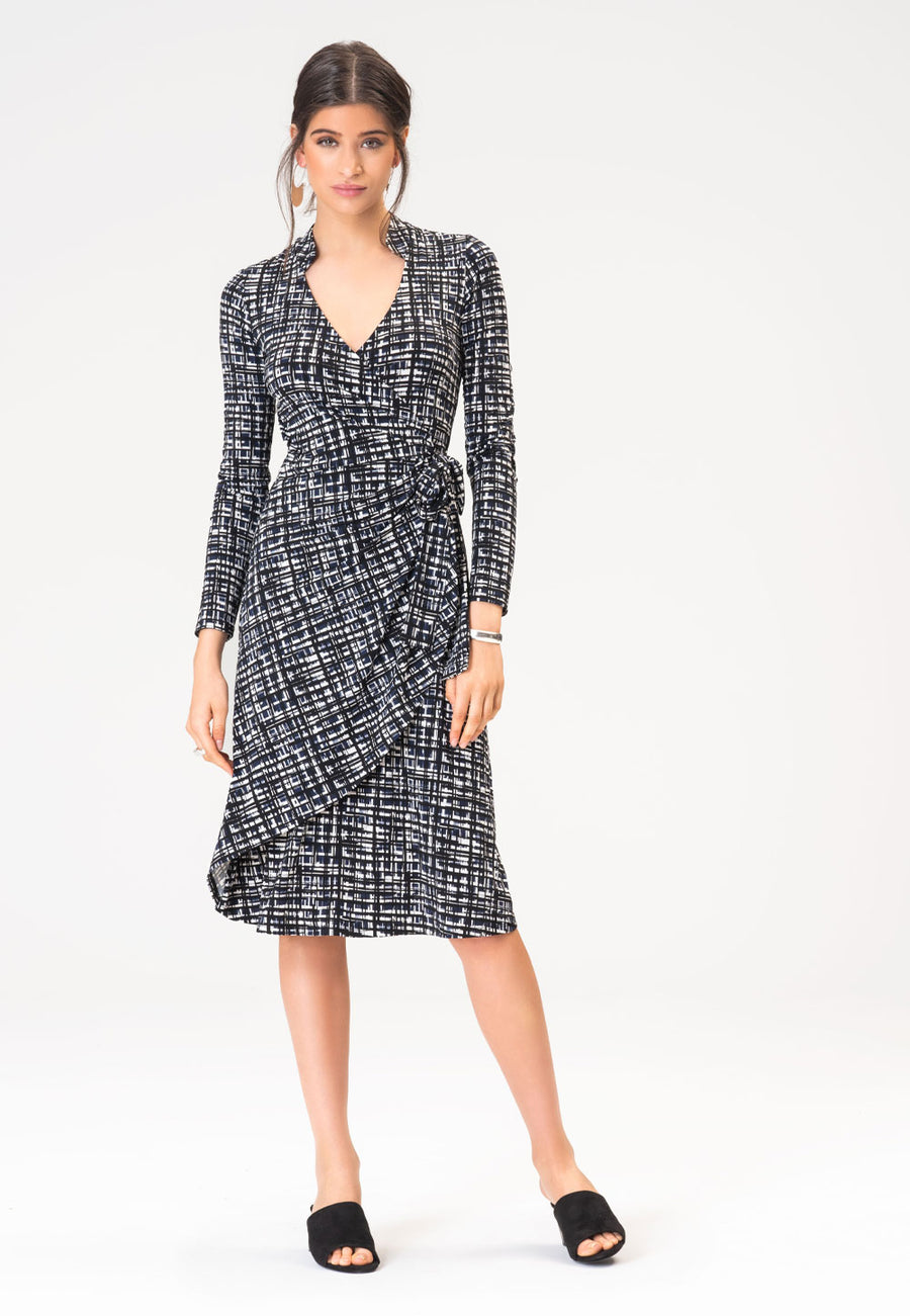 Gabrielle Dress in Brush Strokes Classic Navy
