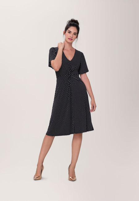 Betty Flutter  Midi Dress in Classic Dot & Pin Black