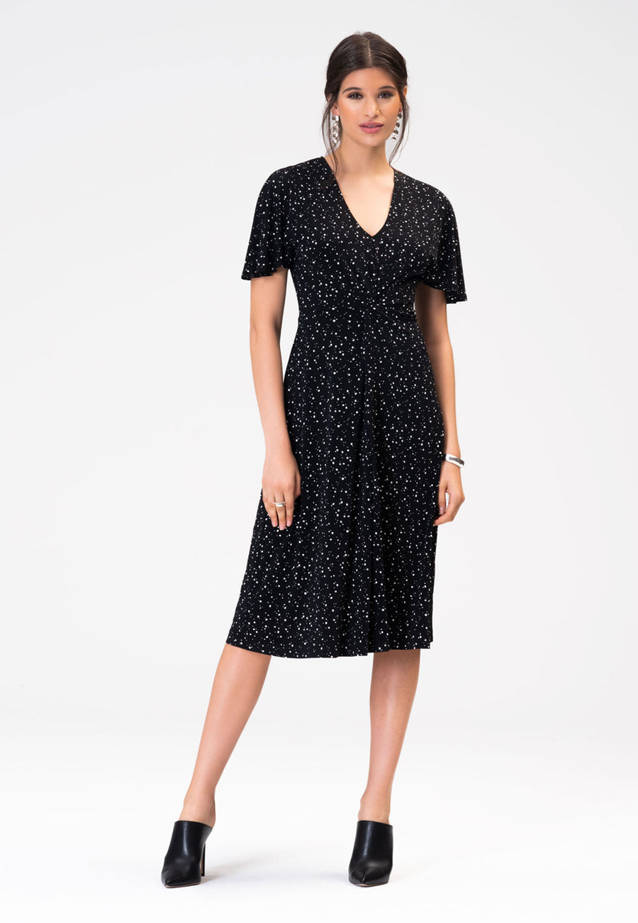 Betty Flutter Midi Dress in Starry Night Black