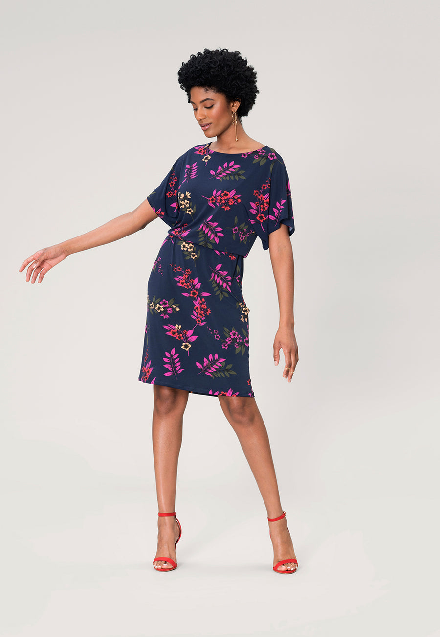 Tiffany Dolman Sleeve Dress in Malibu Classic Navy