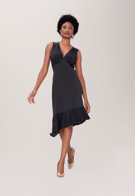 Isabella Flounce Hem Dress in Classic Dot & Pin Dot