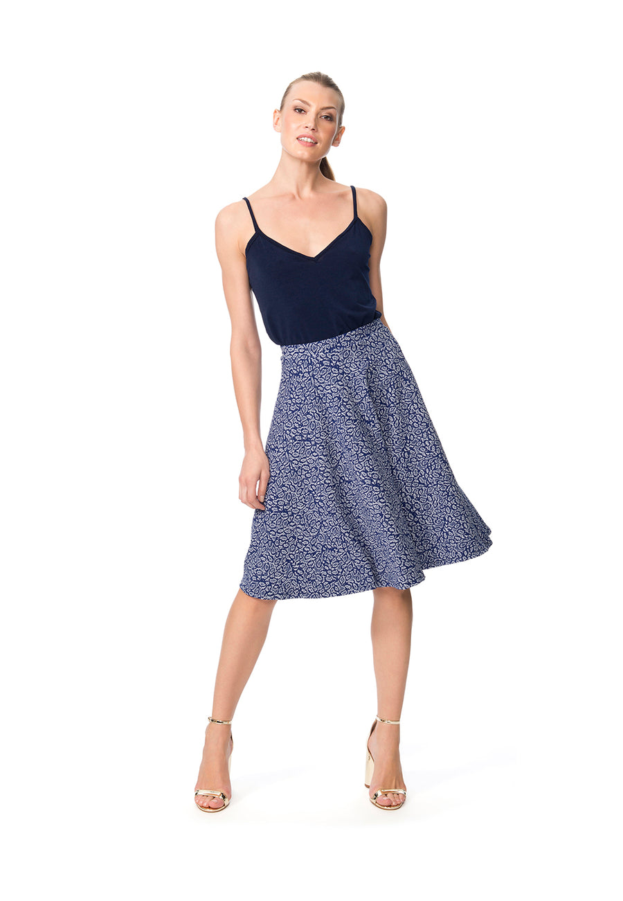 Circle Skirt in Blooming Royal Luxe Jacquard