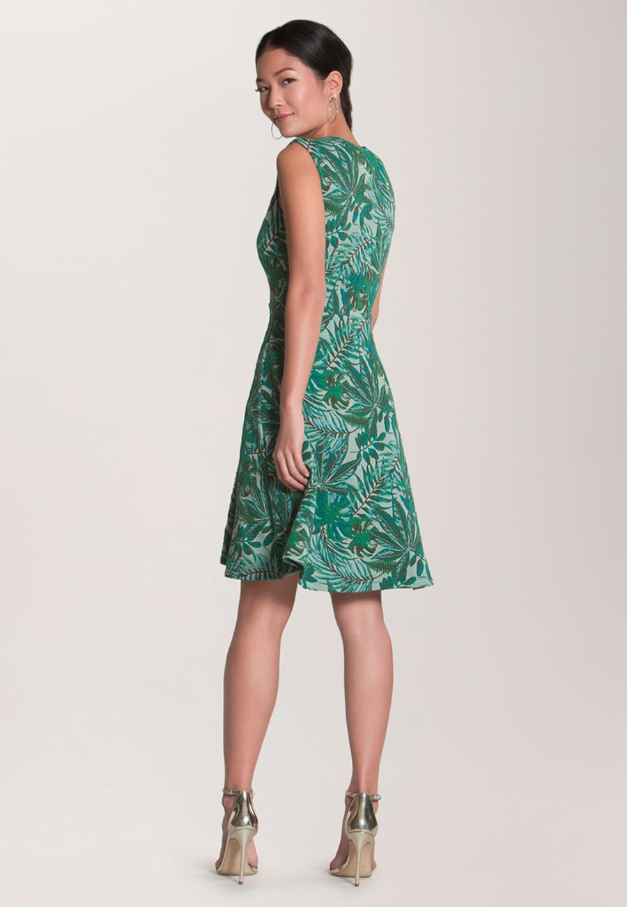 Eve Flare Dress in Jungle Jacquard