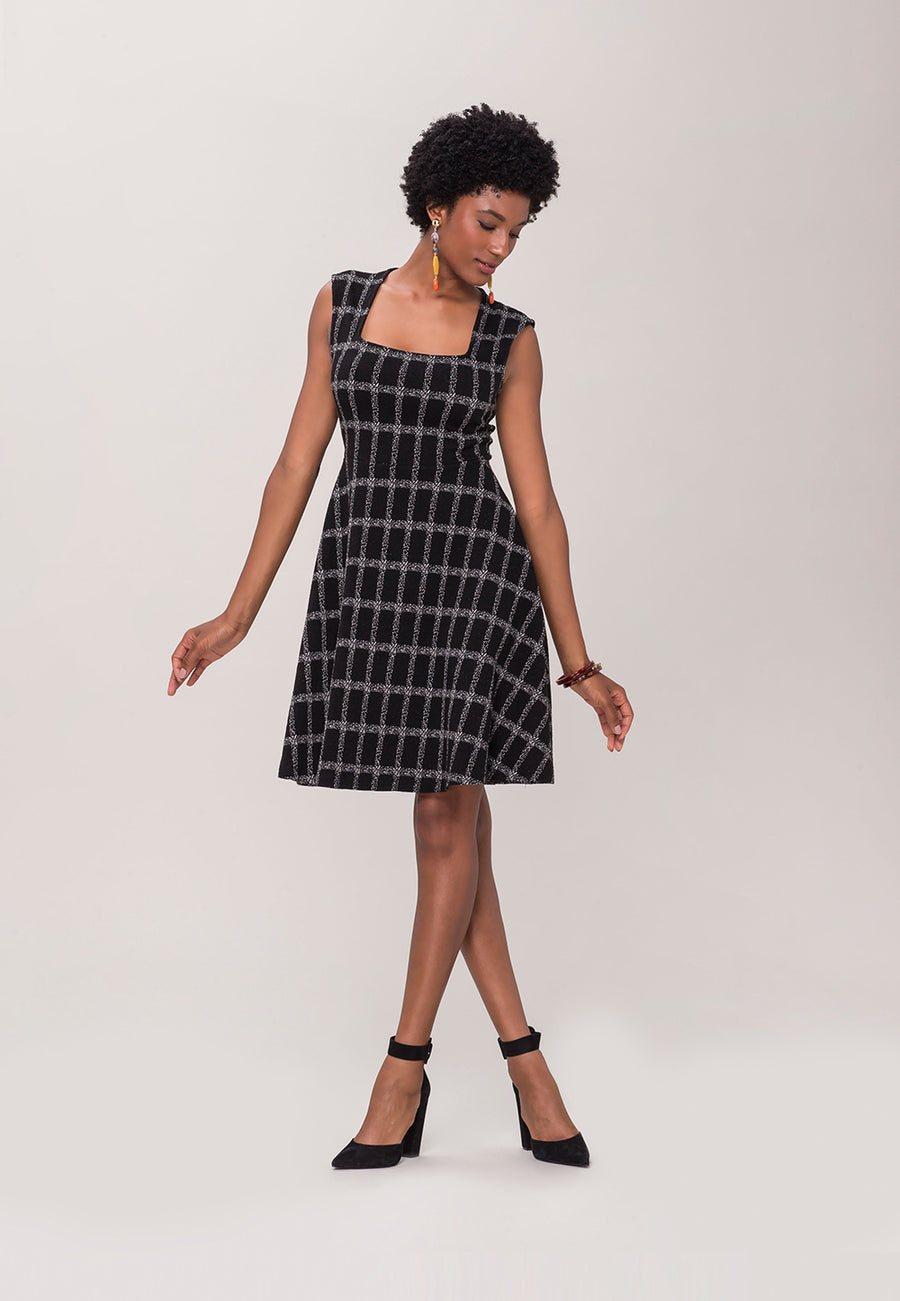 Eve Flare Dress in Windowpane Jacquard