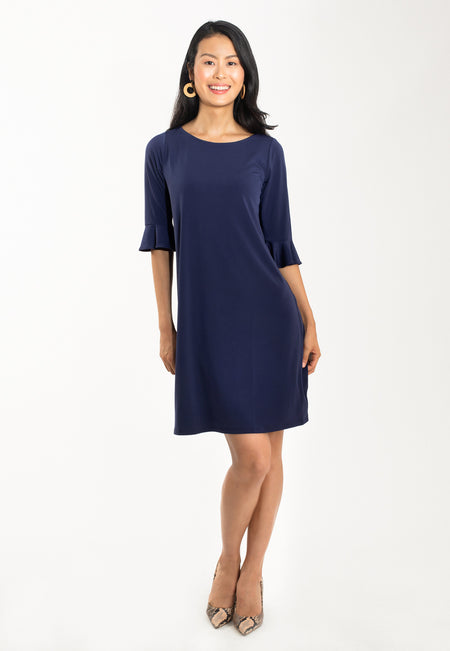 Blake Bell Sleeve Dress in Classic Navy
