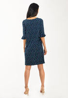 Blake Bell Sleeve Dress in Twilight Dot Parakeet